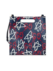 Guccighost Leather Tote Men Leather Suede One Size Blue