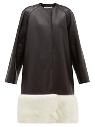 Loewe Shearling Trimmed Collarless Leather Coat Black White