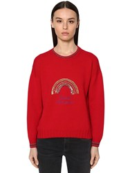 Giada Benincasa Embellished Virgin Wool Knit Sweater Red
