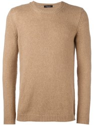 Roberto Collina Cable Knit Crew Neck Jumper Nude And Neutrals