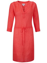 Pure Collection Laundered Linen Dress Hot Coral