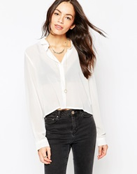 Brave Soul Long Sleeve Cropped Shirt Ecru