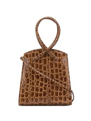 Little Liffner Twisted Crocodile Effect Tote 60