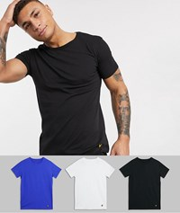 Lyle And Scott 3 Pack Lounge T Shirts In White Blue Charcoal Multi
