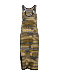 Laneus Knee Length Dresses Yellow