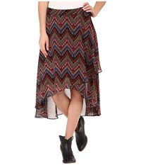 Roper 9905 Aztec Print Georgette Skirt Black Women's Skirt