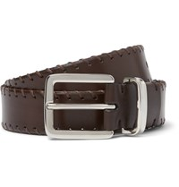 Brunello Cucinelli 3Cm Brown Whipstitched Leather Belt Brown