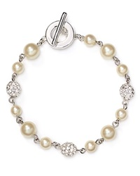 Carolee Faux Pearl Fireball Illusion Bracelet White
