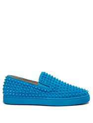 Christian Louboutin Roller Boat Spike Embellished Slip On Trainers Blue