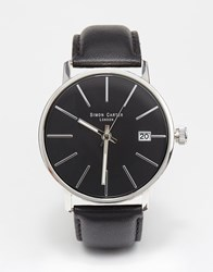 Simon Carter Leather Strap Watch With Date Window Black