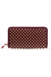 Christian Louboutin Panettone Spiked Leather Wallet Burgundy Usd