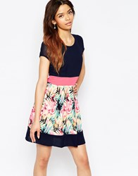 Wal G Dress With Floral Printed Skirt Floral