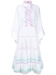 Natasha Zinko Flared Sleeves Ruffled Dress Women Cotton Polyamide 40 White