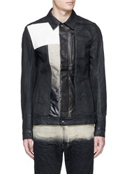 Rick Owens 'Silvered Worker' Leather Denim Patchwork Jacket Black
