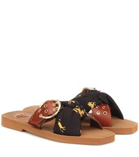 Chloe Leather And Fabric Slides Brown