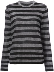 Alexander Wang Striped Sweater Viscose Wool Metallic Fibre Xs Black