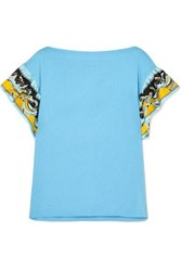 Emilio Pucci Printed Silk Trimmed Cotton Jersey T Shirt Blue