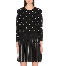 Alice Olivia Jewel Embellished Polka Dot Cardigan Black