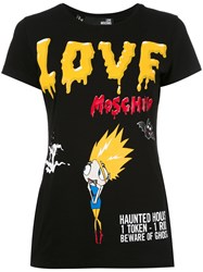 Love Moschino Terrified Cartoon T Shirt Black