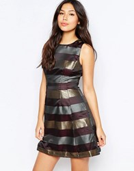 Ax Paris Metallic Stripe Skater Dress Plum Purple