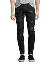 God's Masterful Children Distressed Slim Straight Jeans With Backing Black