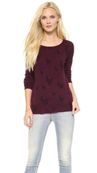 360 Sweater Multi Dexter Skull Cashmere Sweater Claret W Black Print