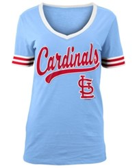 5Th And Ocean Women's St. Louis Cardinals Retro V Neck T Shirt Lightblue