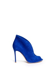 Gianvito Rossi V Throat Suede Peep Toe Booties Blue