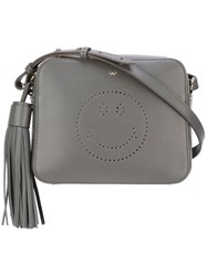 Anya Hindmarch Perforated Smiley Crossbody Bag Grey