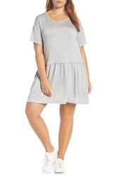 Bobeau Knit Tee Dress Grey