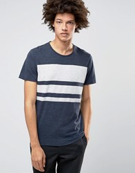 Selected Homme Plus T Shirt With Crew Neck And Block Stripe Print Navy Stripe