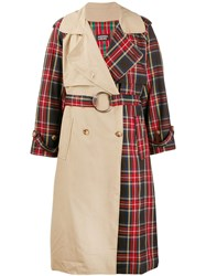 Andrea Crews Tartan Panelled Trench Coat 60