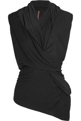 Rick Owens Twist Front Crepe De Chine Trimmed Stretch Jersey Top Black