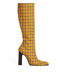 Balenciaga Block Heel Checked Wool Boots Yellow Multi