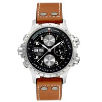 Hamilton H77616533 Men's Khaki X Wind Day Date Chronograph Leather Strap Watch Tan Black