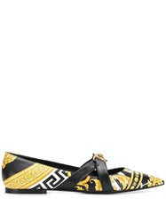 Versace Savage Barocco Print Flat Pumps Black
