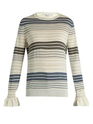 Stella Mccartney Ruffled Cuff Striped Wool Sweater Navy Stripe
