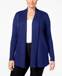 Jm Collection Plus Size Ribbed Open Front Cardigan Only At Macy's Bright Sapphire