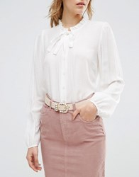 Asos Pearl Buckle Waist And Hip Belt Beige