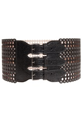 Azzedine Alaia Eyelet Triple Buckle Belt Black