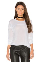 Splendid Heathered Long Sleeve Crew Neck Tee White