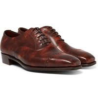 George Cleverley Nakagawa Burnished Leather Oxford Brogues Tan