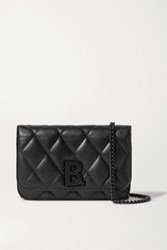 Balenciaga B Dot Quilted Leather Shoulder Bag Black