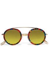 Krewe Conti Round Frame Acetate And Gold Plated Mirrored Sunglasses