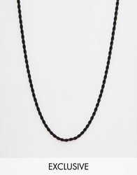 Chained And Able Rope Necklace In Black