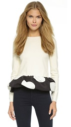 Boutique Moschino Polka Dot Peplum Sweater White