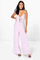 Boohoo Tie Front Wide Leg Jumpsuit Lilac