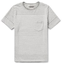 Remi Relief Striped Knitted Cotton T Shirt Gray