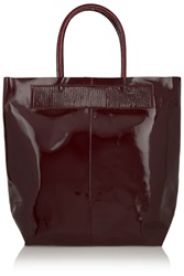 Maje Faux Patent Leather Tote Red