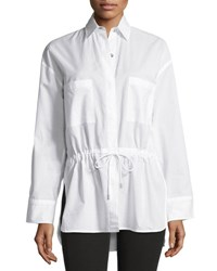 Helmut Lang Lawn Cotton Drawstring Waist Shirt White